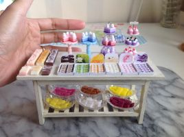 Table is full. 1:12 scale Soaps for my soap shop by Almadejonge