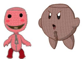 Sackboy vs. Kirby by devlin2010