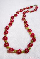 Lovely Red Daisy Necklace by OtakuEC
