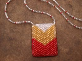 Bead embroidered red chevron necklace by PeachPodHandmade
