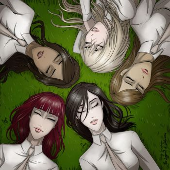 Girls lying on the grass. Dreaming. by erryCherry