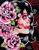 Gypsy Skull Painting by misscarissarose