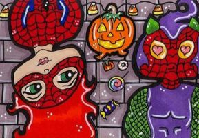 Halloween MJ and Spiderman by CassieJ787