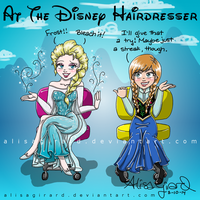 At the Disney Hairdresser: Elsa and Anna by alisagirard