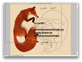 Fox Silk Scarf Design - WIP by HCHughes