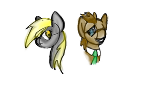 Derpy and Doctor Whooves by Perrikara