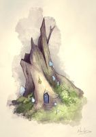 Old Stump Home by NaomiVanDoren
