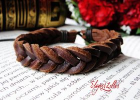 Brown leather bracelet by Benia1991