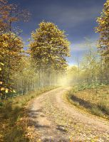 Autumn Country Lane Premade Background by Roys-Art