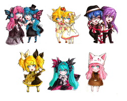 Vocaloid Chibis - COSFEST '10 by maocha