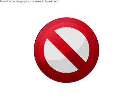 No entry icons PSD file by mizie2009