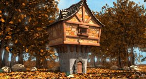 Woods House in Autumn by mayec
