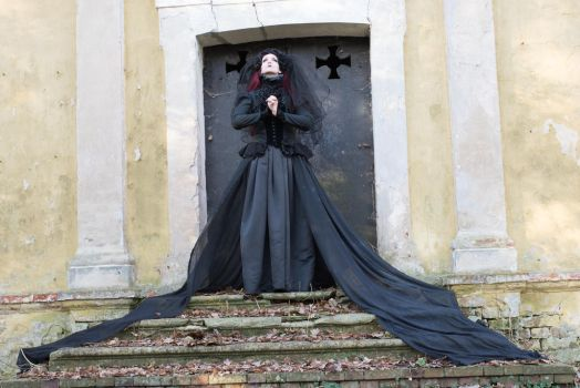 Stock - Gothic lady crypt praying pose 2 look up by S-T-A-R-gazer
