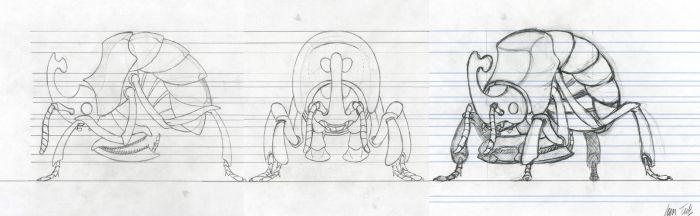 GameDesign '09 - Insect: Rollerbug modelsheets by JanTuts