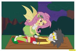 Flutterbat and Discord Equestria Girls by CoNiKiBlaSu-fan