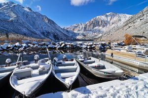Snow covered Convict lake by yo13dawg
