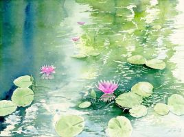 Water lily, Lotus, Watercolor painting by SuisaiGenki