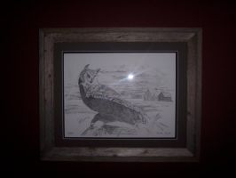 barn owl framed and matted by Vsemb
