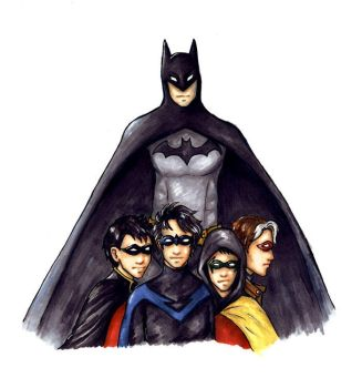 Batman and his Robins - colour by Sjostrand
