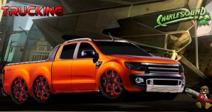 Ford Ranger Trucking 2013 Wheels black red by CHARLESOUNDcar