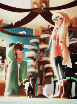 They Met at a Cat Cafe by FancyH-Art