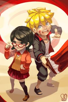 Naruto : Bolt and Sarada by Sa-Dui
