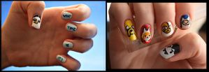 Adventure Time/ Fionna and Cake Nails by BlueDaisy767