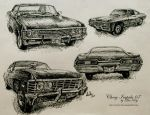 Chevy Impala 67 sketches by diablana81