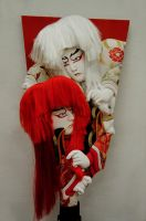Kabuki Red and White Lions by AndySerrano