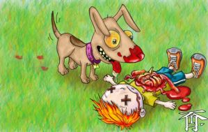 Dog loves to play with lil Tim by tofurizer