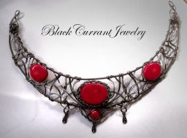 Red Coral Necklace by blackcurrantjewelry
