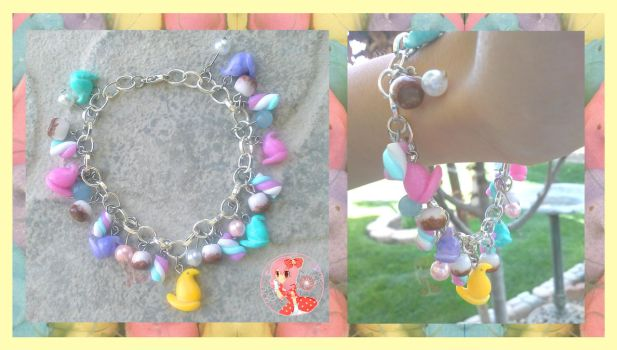 Peeps and Assorted Marshmallows Bracelet by Octopop-n-Aicing