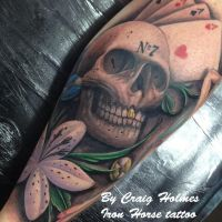Skull / gambling leg sleeve tattoo by Craig Holmes by CraigHolmesTattoo