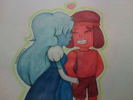 ruby and sapphire-STEVEN UNIVERSE by konecreepy