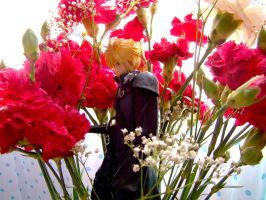 Cloud Strife with Carnations2 by DarkMuse112
