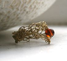 Crochet + Amber Wishbone Ring by WrappedbyDesign