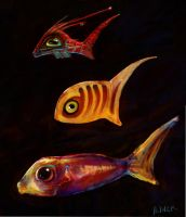 three small and colorful fish by saramondo
