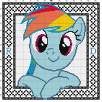 Rainbow Dash Cross Stitch Pattern with Border by Lahirien