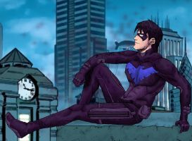 Grayson Perched in the Gotham Skyline by LenleG