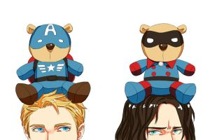 Steve bear and Bucky bear by GH18