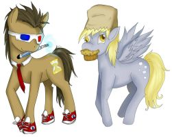 Doctor Whooves and Derpy! by Checker-Bee