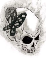 Skull and Butterfly by psychoprincess2008