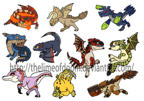 Monster hunter chibis by thelimeofdoom