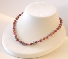 Rhodonite Yellow Jade Necklace by Vamppy