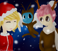 Fairy Tail Lucy, Natsu, and Happy Christmas Outfit by Snowflakekittyartist