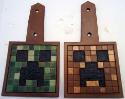 Minecraft Creeper Leather Keychains by Kaje202