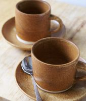 Two stoneware pottery Americano cups by scarlet1800