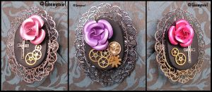 Le temps des roses brooches by Gloomyswirl