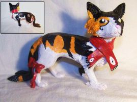 Black Kalico Cat Sculpture by ByToothAndClaw