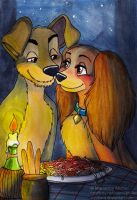 ACEO - Lady and the Tramp by Vani-Fox